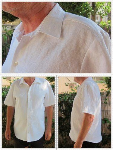linneskjorta med korta ärmar